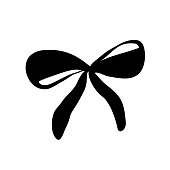 Vector hand drawn bow icon. Painted ribbon for paper, web design, logo, app, UI.
