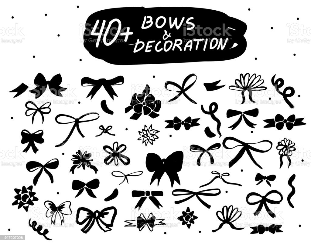 Vector hand drawn bows set. Black doodle decor isolated icons collections for decoration, web design, logo, app, UI. vector art illustration