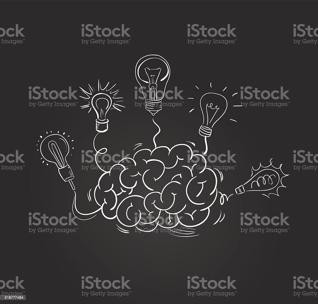 Vector hand drawn brain with different bulbs vector art illustration