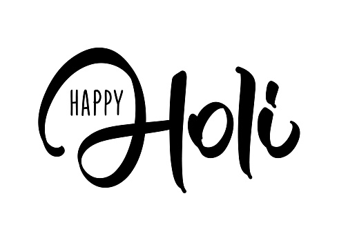 Vector Hand drawn brush lettering composition of Happy Holi on white background