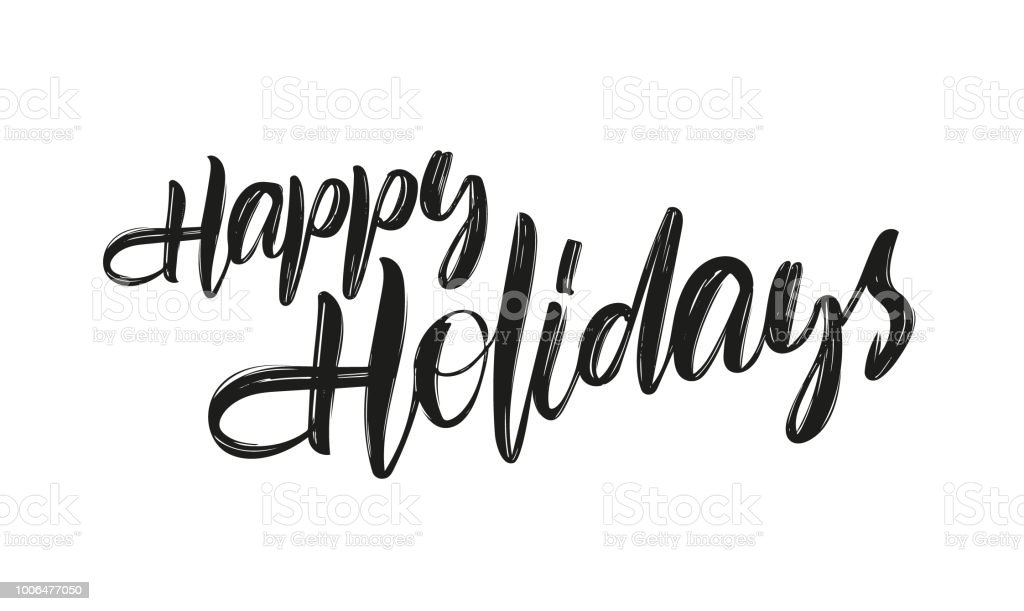 Vector hand drawn brush type lettering of Happy Holidays on white background - Векторная графика Белый роялти-фри