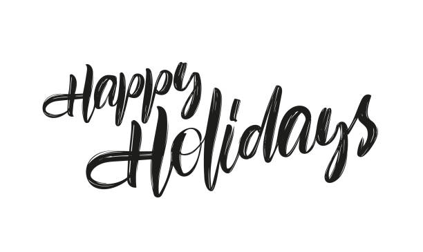 vector hand drawn brush type lettering of happy holidays on white background - text stock illustrations, clip art, cartoons, & icons