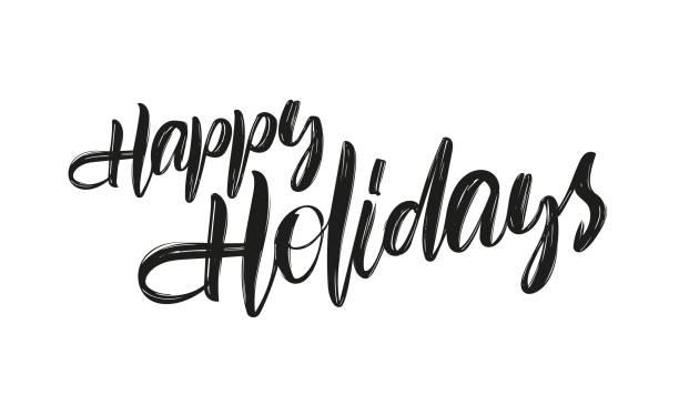 向量手繪畫筆字體在白色背景下的快樂假日 - happy holidays 幅插畫檔、美工圖案、卡通及圖標