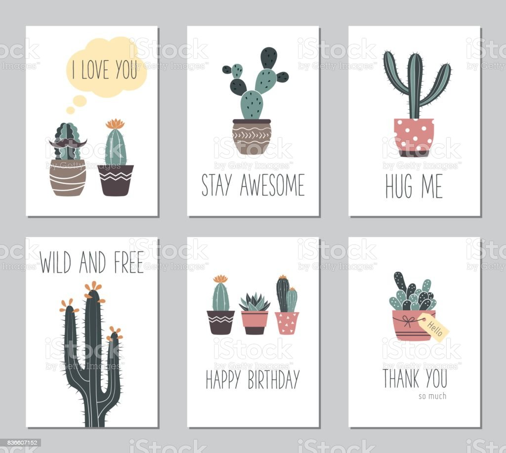 Vector hand drawn cactus and succulents vintage greeting cards stock vector hand drawn cactus and succulents vintage greeting cards royalty free vector hand m4hsunfo