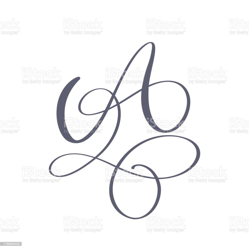 vektor el cizilmis kaligrafi cicek bir monogram veya logo buyuk el yazi harfi a ile swirls ve curl dugun cicek tasarim stok vektor sanati a harfi nin daha fazla gorseli istock