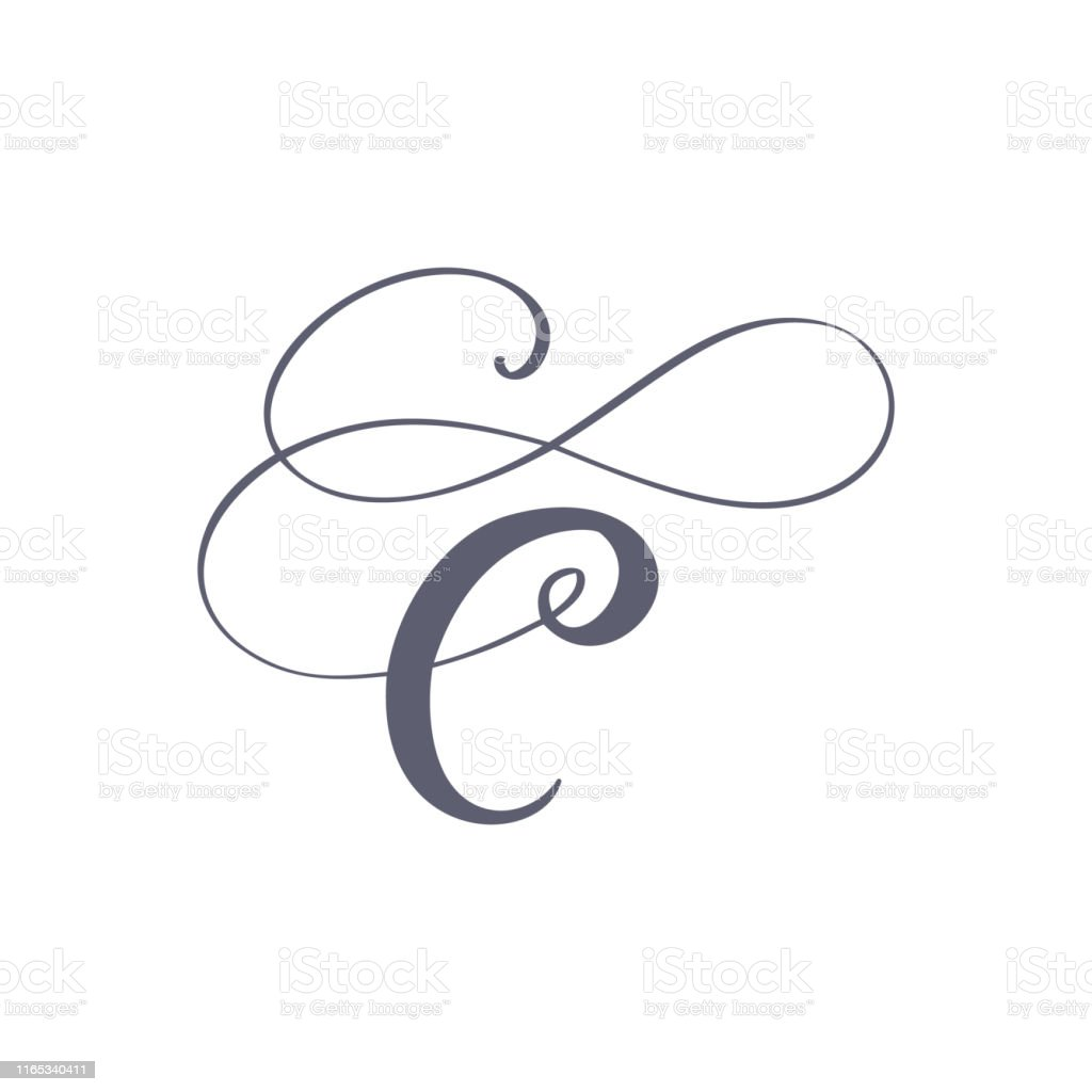 Vector Hand Drawn Calligraphic Floral C Monogram Or Logo