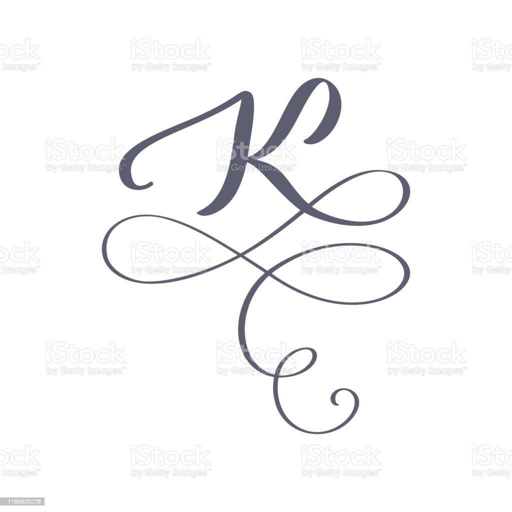 Vector Hand Drawn Calligraphic Floral K Monogram Or Logo