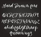 Vector hand drawn calligraphic font. Handmade calligraphy tattoo alphabet. ABC