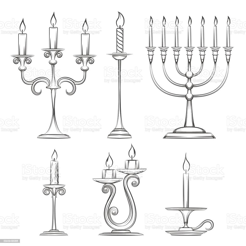 Vector hand drawn candlesticks vector art illustration