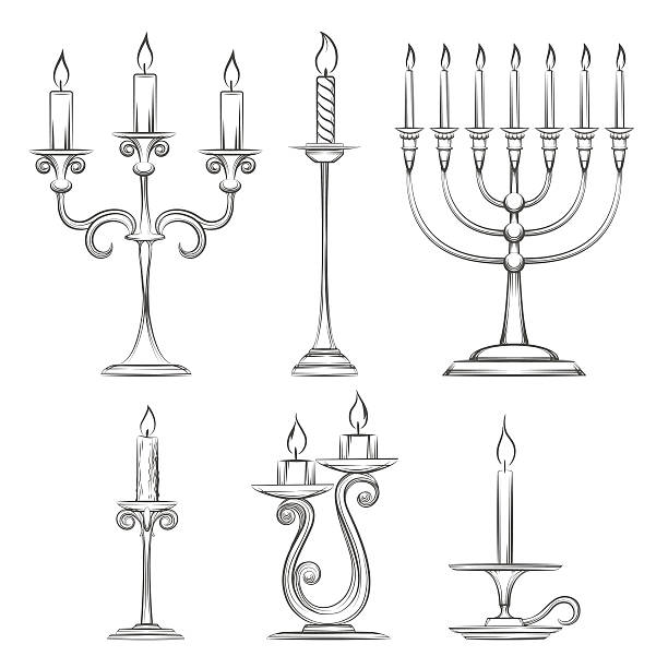 Vector hand drawn candlesticks Vector hand drawn candlesticks. Vintage candelabra, candlestick and menorah sketch candlestick holder stock illustrations