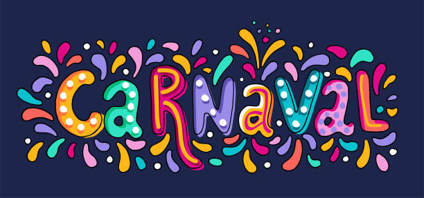 illustrazioni stock, clip art, cartoni animati e icone di tendenza di vector hand drawn carnaval lettering. carnival title with colorful party elements, confetti and brasil samba dansing - spagnolo lingua