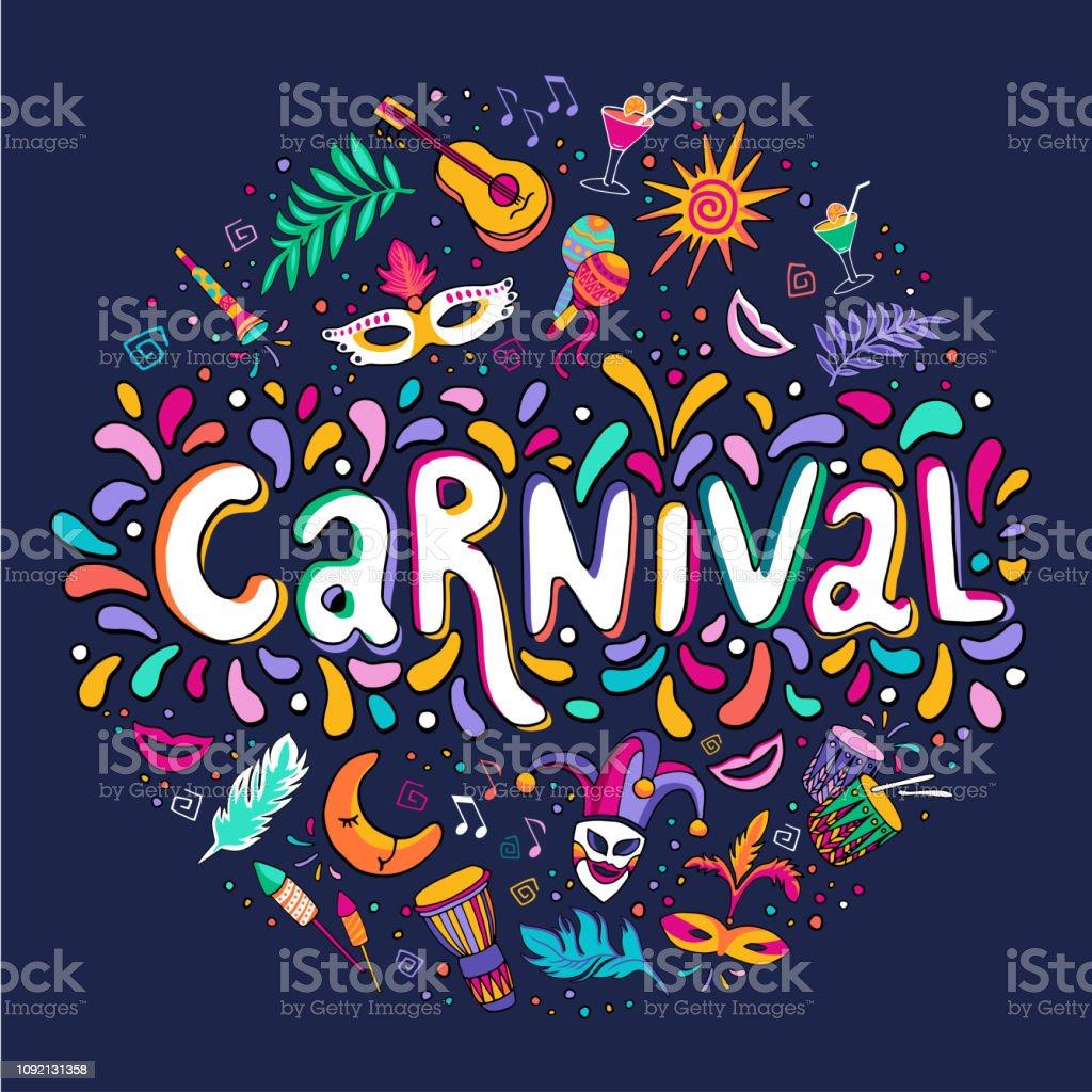Vetorial mão desenhada Carnaval Lettering. Carnaval título com elementos de festa coloridas, confetes e brasil samba futebol - ilustração de arte em vetor