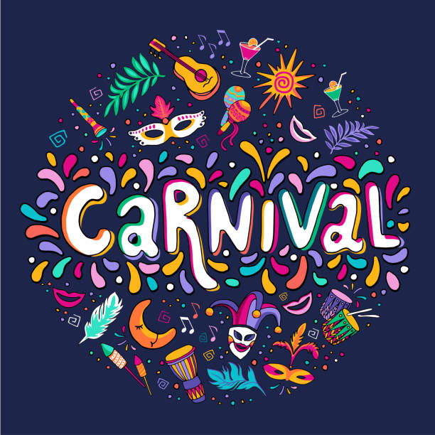 illustrazioni stock, clip art, cartoni animati e icone di tendenza di vector hand drawn carnaval lettering. carnival title with colorful party elements, confetti and brasil samba dansing - piume colorate