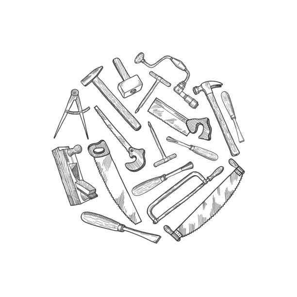 ilustrações, clipart, desenhos animados e ícones de vetorial mão extraídas ilustração de elementos de carpintaria - carpinteiro