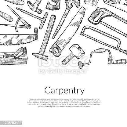 Vector hand drawn carpentry elements banner background with place for text illustration