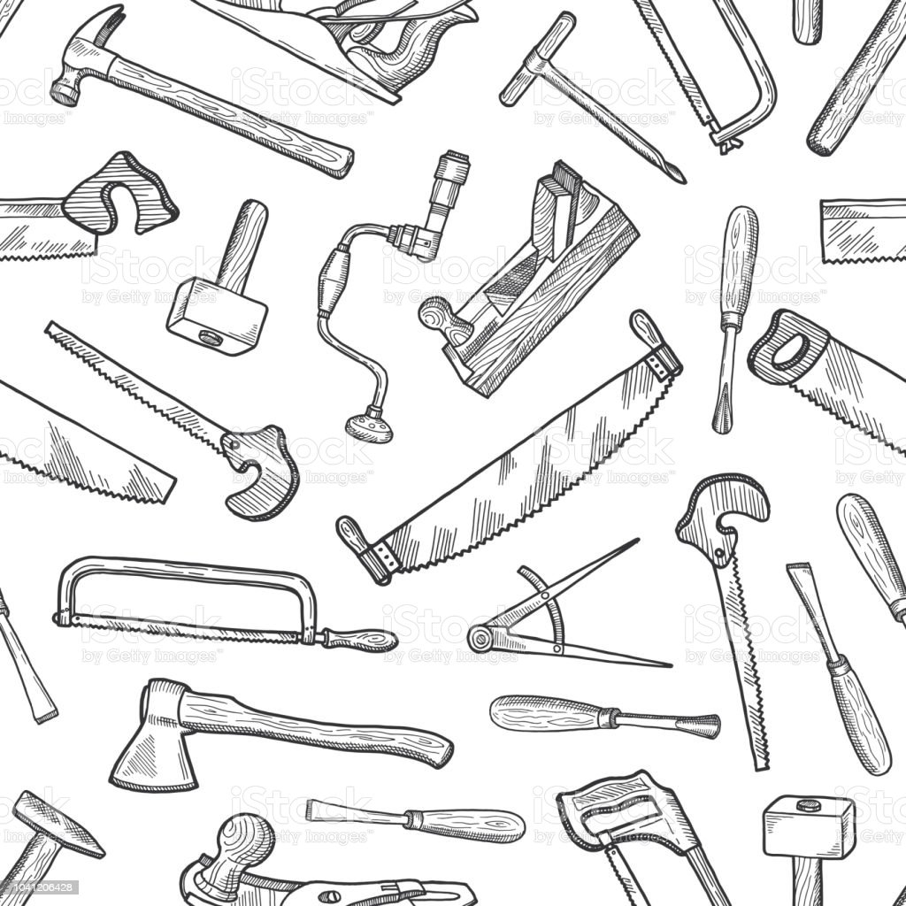 Vector hand drawn carpentry elements pattern or background illustration vector art illustration
