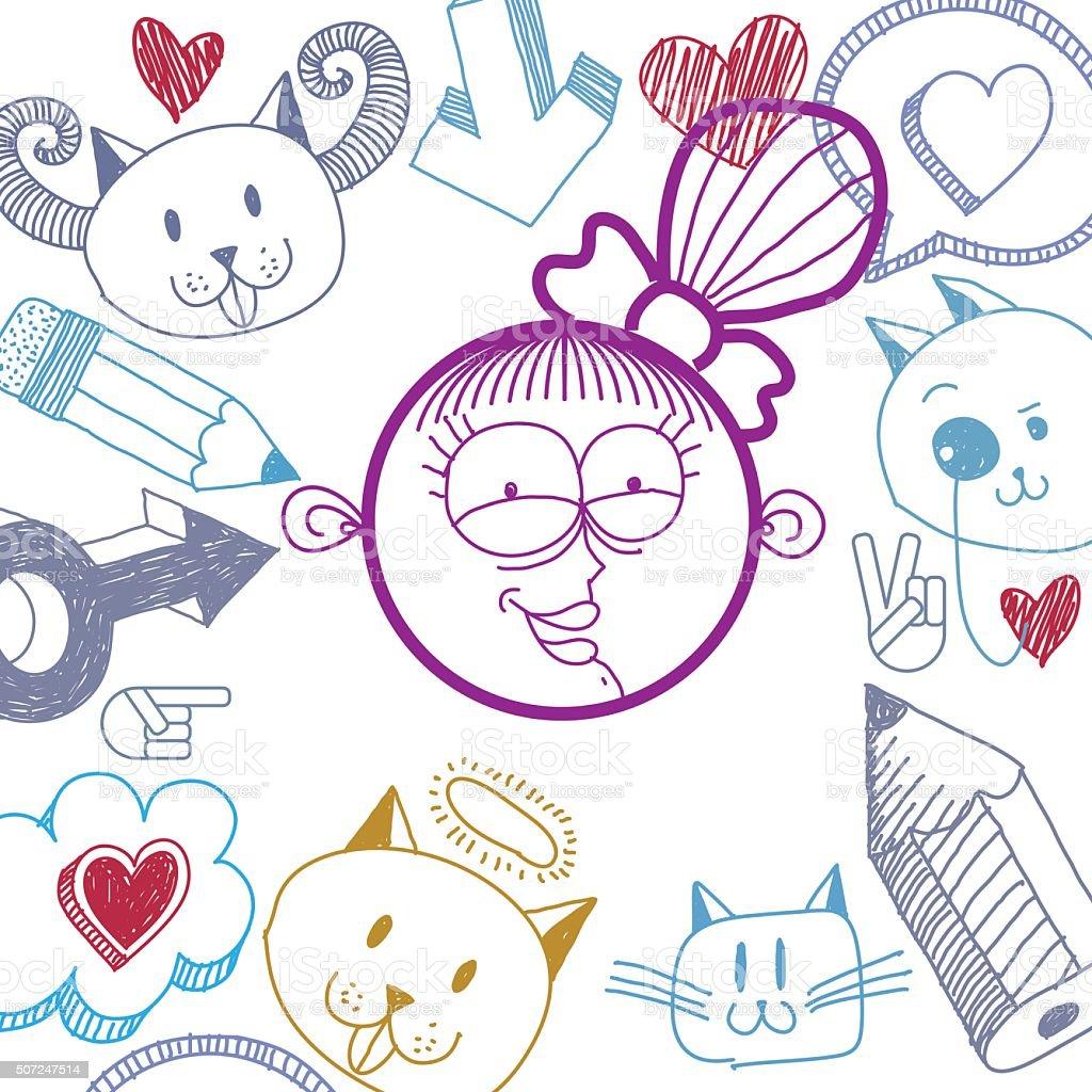ベクトルの手描きカットイラストハッピーな笑顔の女の子モダンなカット