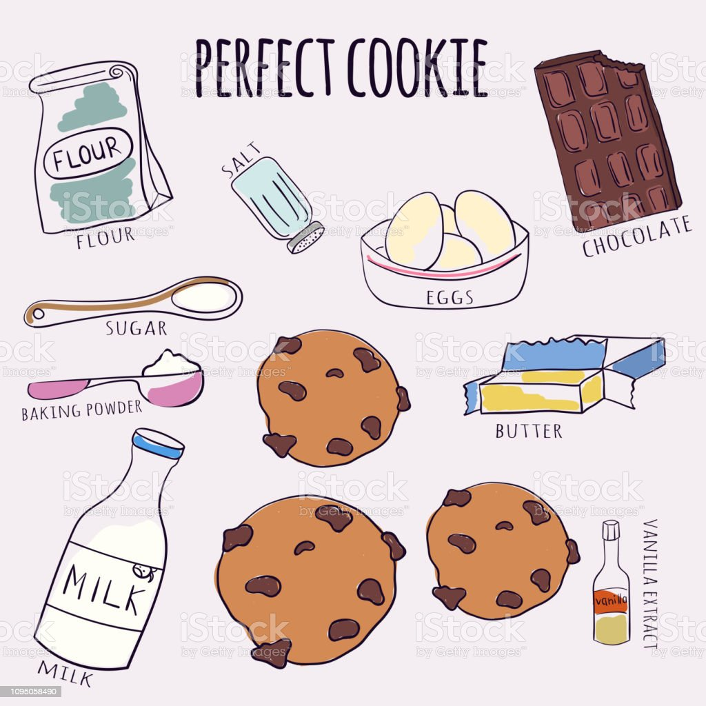 Vector hand drawn chocolate cookie recipe. Doodle illustration. Cake recipe in doodle style. Vector illustration. vector art illustration