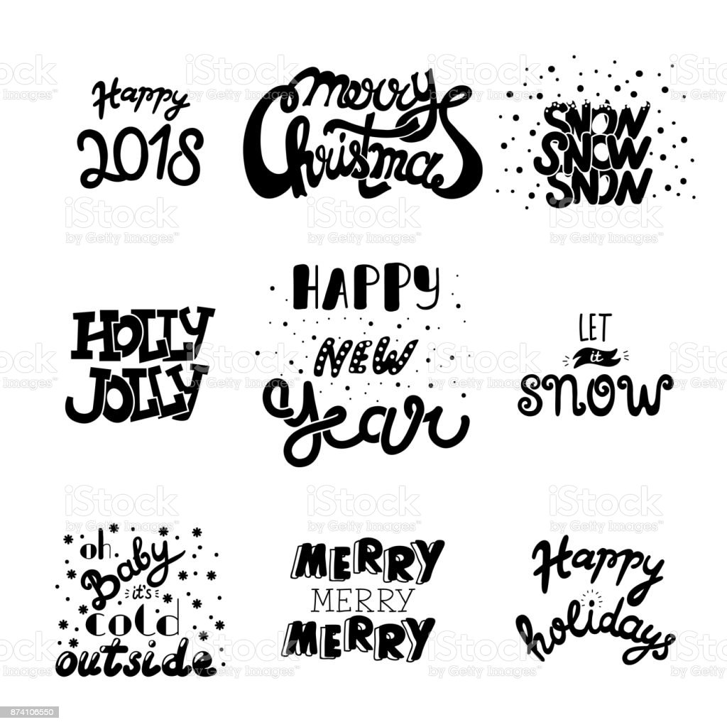 Vector Hand Drawn ChristmaVector Hand Drawn Christmas And New Year Quotes  And Wishes. Hand Draw