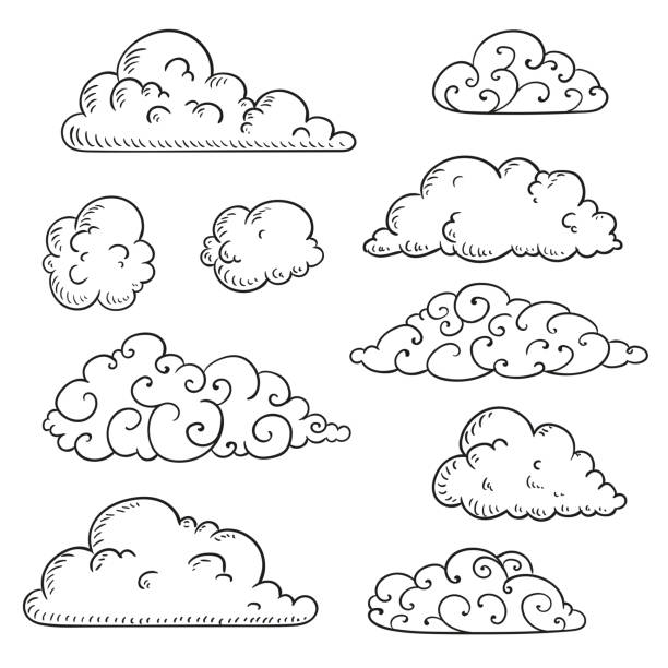 Vector Hand Drawn Clouds vector art illustration