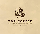 Vector hand drawn coffee   design elements isolated on textured background. Coffee shop craft emblem, company insignia template, banner, print, etc.