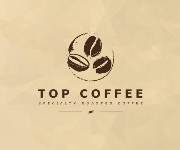 vector hand drawn coffee   design elements isolated on textured background. - ziarno kawy palonej stock illustrations