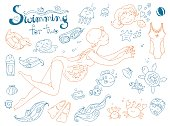Vector hand drawn collection. Mom and baby. Swimming for pregnan