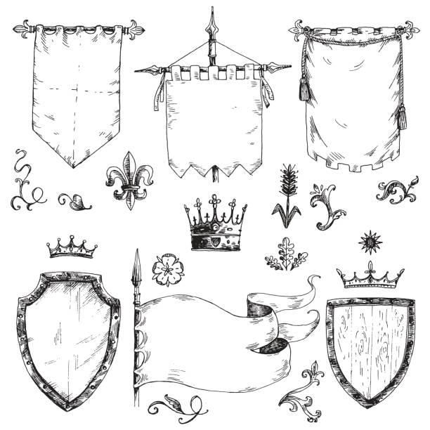 Vecteur à main collection tirée de modèles héraldiques: bouclier, drapeau - Illustration vectorielle