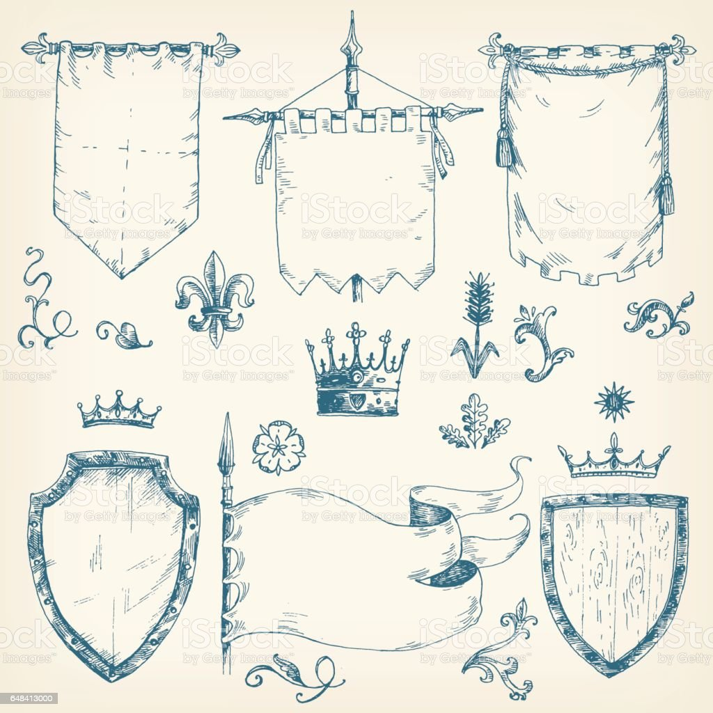 Vector Hand Drawn Collection Of Heraldic Templates Shield Flag Stock ...