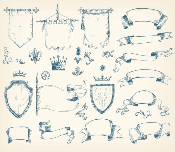 Collection dessinée à la main vectorielle de modèles héraldiques : bouclier, drapeau - Illustration vectorielle