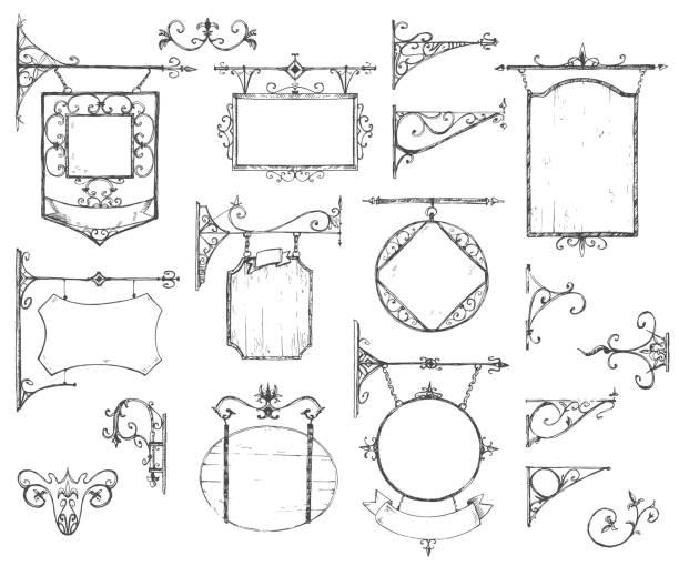 Vector collection dessinés à la main des enseignes vintage, support et - Illustration vectorielle