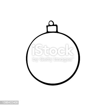 istock Vector hand drawn contour and shape of Christmas tree ball for coloring at Xmas and New year holidays. Template for kids creativity 1285422405