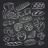 Vector hand drawn contoured bakery elements on black chalkboard. Bakery chalkboard sketch, doodle chalk drawing illustration