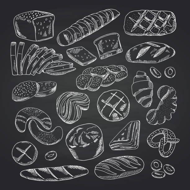 illustrazioni stock, clip art, cartoni animati e icone di tendenza di vector hand drawn contoured bakery elements on black chalkboard - pane forno