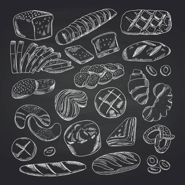 Vector hand drawn contoured bakery elements on black chalkboard vector art illustration