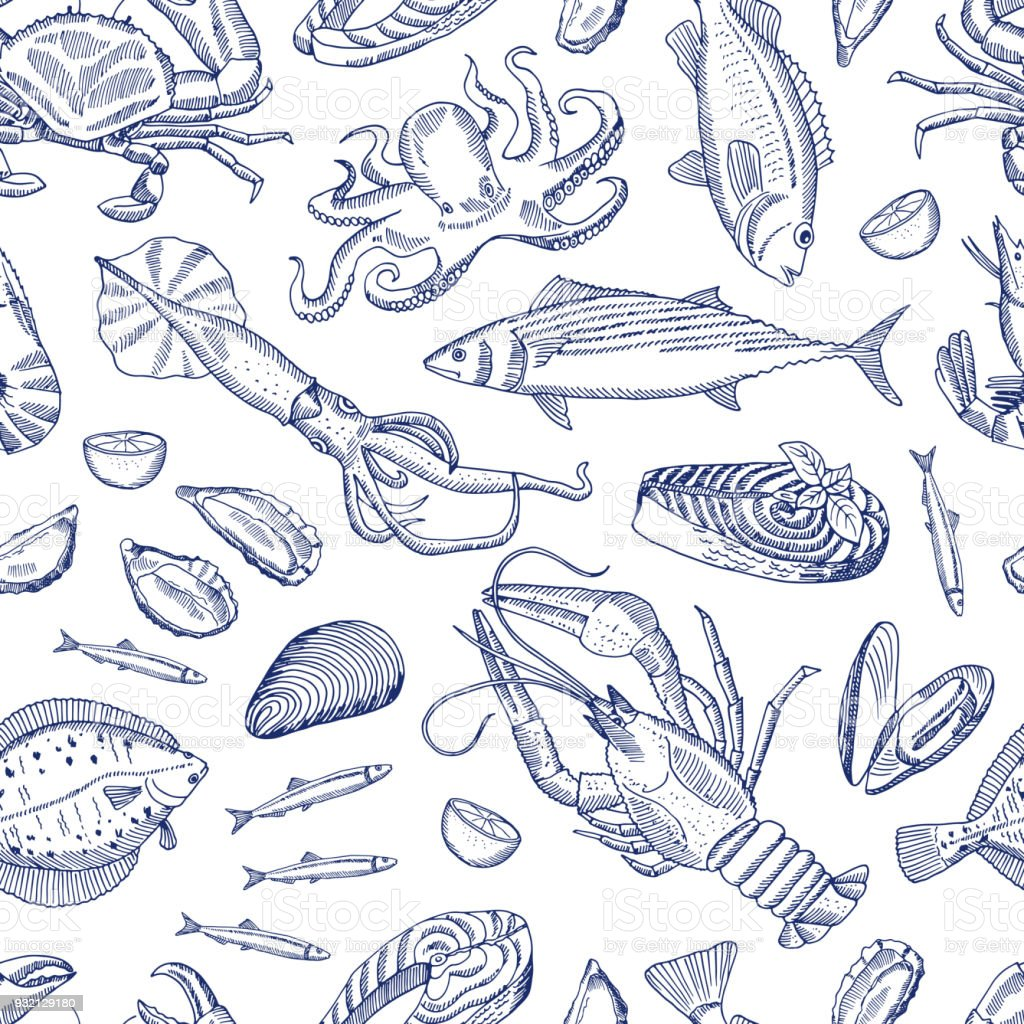 Vector hand drawn contoured seafood elements pattern vector art illustration