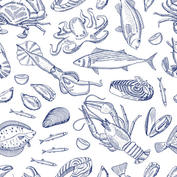 Vector hand drawn contoured seafood elements pattern Vector sketch hand drawn contoured seafood elements pattern or background illustration seafood stock illustrations
