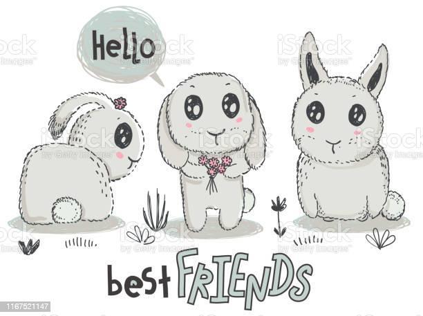 Vector hand drawn cute rabbits with words best friends vector id1167521147?b=1&k=6&m=1167521147&s=612x612&h=qv8sowdcdswdzgrfeipfznhj2b5ndvdoqe5ljnfomnc=