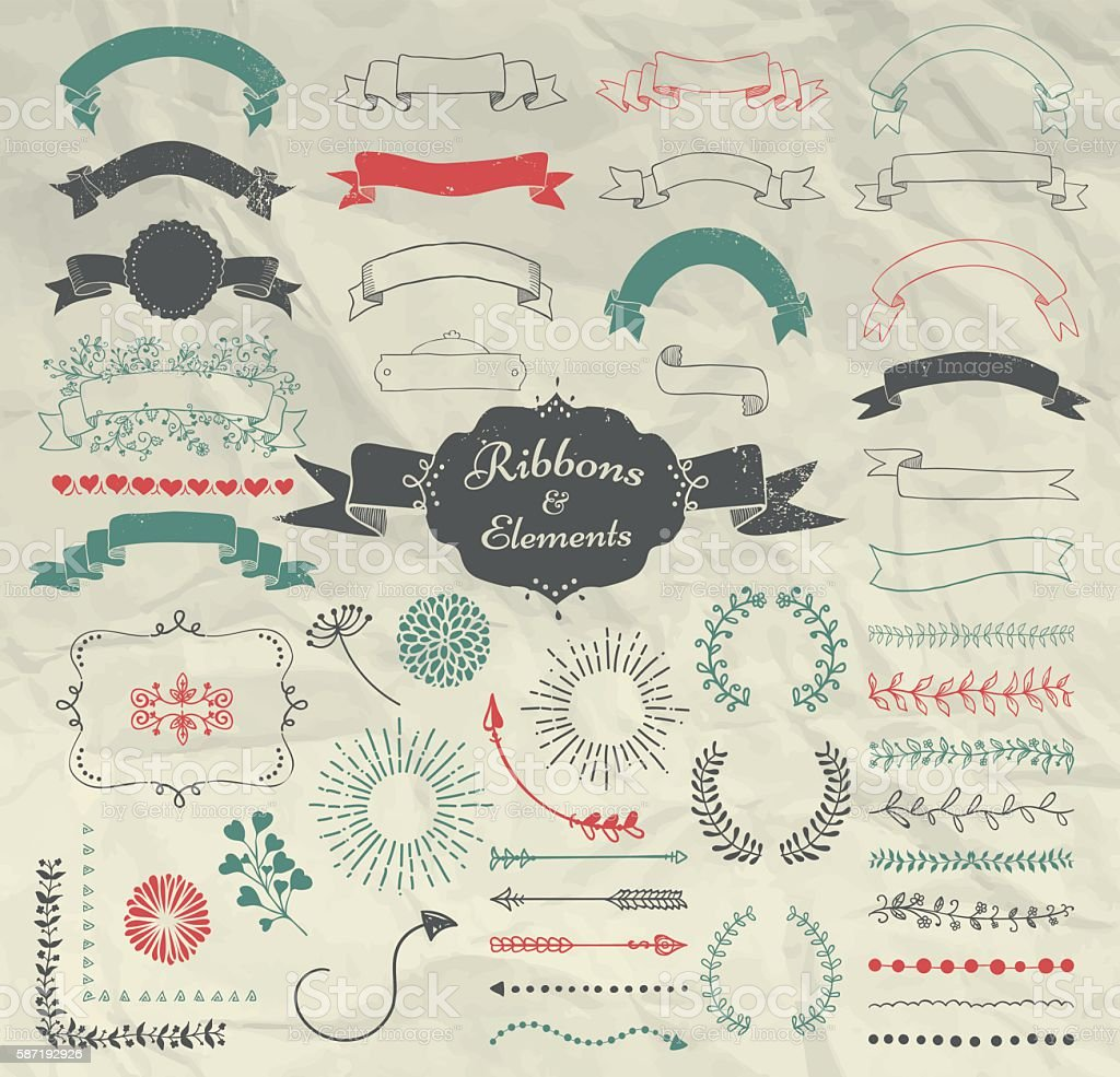 Vector Hand Drawn Design Elements and Ribbons Set vector art illustration