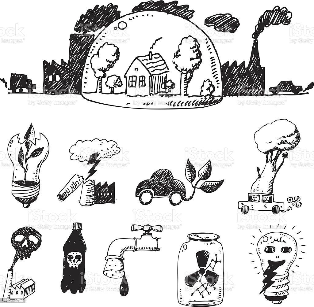 Vector hand drawn design elements - eco royalty-free stock vector art