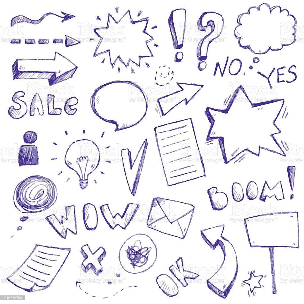 Vektor Hand Zeichnen Doodle Symbole Stock Vektor Art und mehr Bilder ...