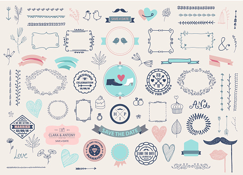 Vector Hand drawn doodle Love collection, illustration Sketchy icons. Big set for Valentine's day, Mothers day, wedding, love and romantic events. Frames, laurels, florals, vintage design elements