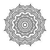 Vector hand drawn doodle mandala. Ethnic mandala with ornament. Isolated. Black and white colors.
