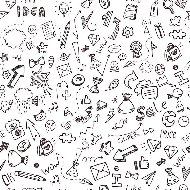 Vector hand drawn doodle pattern vector art illustration