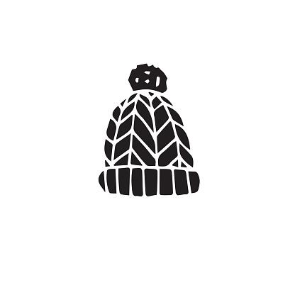 Vector hand drawn doodle sketch black winter hat