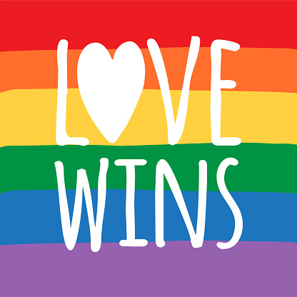Vector hand drawn doodle sketch love wins lgbt pride lettering quote with rainbow flag heart