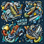 Colorful vector hand drawn doodles cartoon set of Water Summer sport combinations of objects and elements. All items are separate