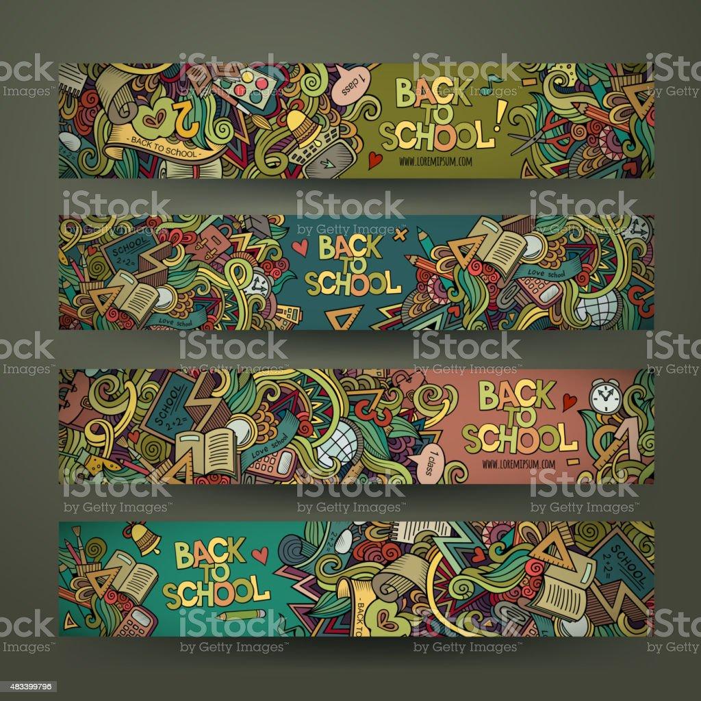 Vetor desenho à mão escola doodles design banners - ilustração de arte em vetor