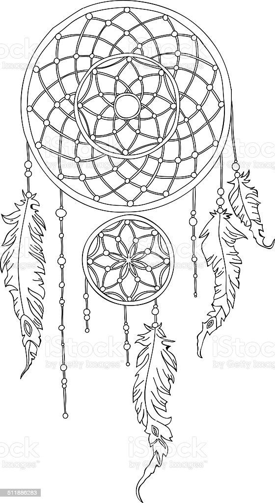 Vector hand drawn dreamcatcher outline stock vector art for Dreamcatcher tattoo template