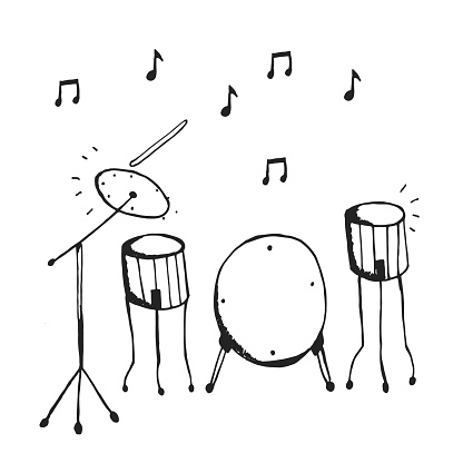 Vector hand drawn drums instruments with notes